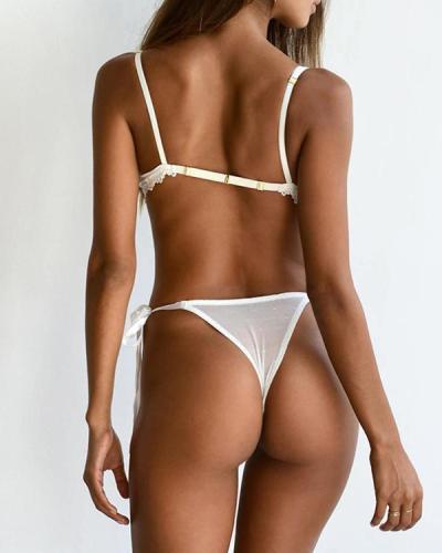 Sexy White Lace Detail Bralette & Panties Set