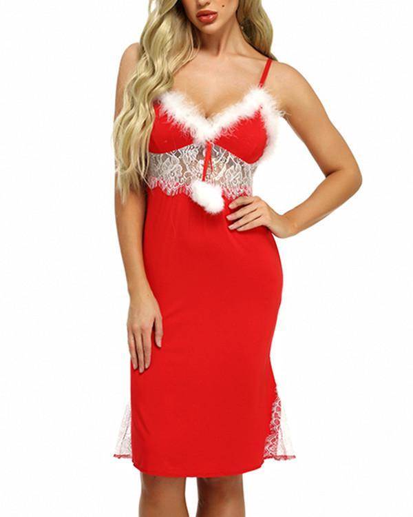 Red Faux Fur Lace Christmas Nightgown Lingerie