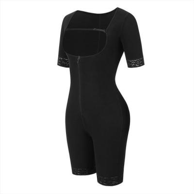Black Straps Full Body Shapewear Hooks Half Sleeve Bodysuit