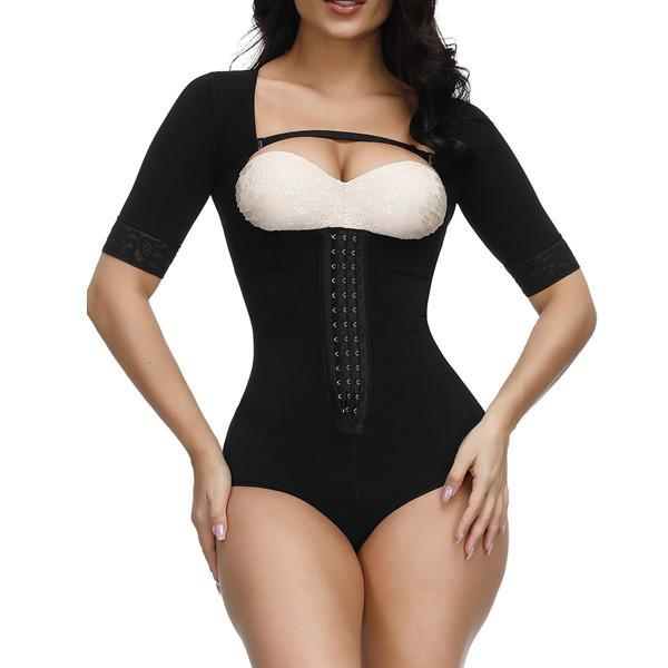 Fashion Black Straps Full Body Shapewear Hooks Half Sleeve Bodysuit
