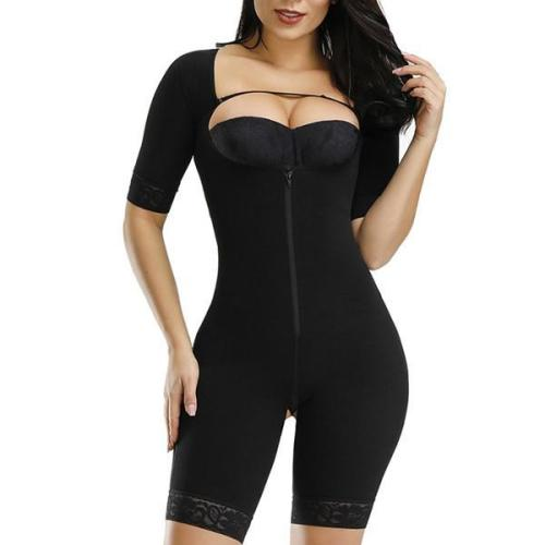 Black Straps Full Body Shapewear Hooks Half Sleeve Bodysuit