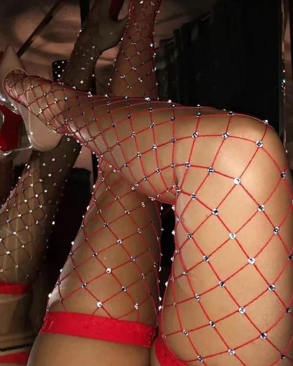 Glittering Rhinestone Fishnet Hollow High Socks