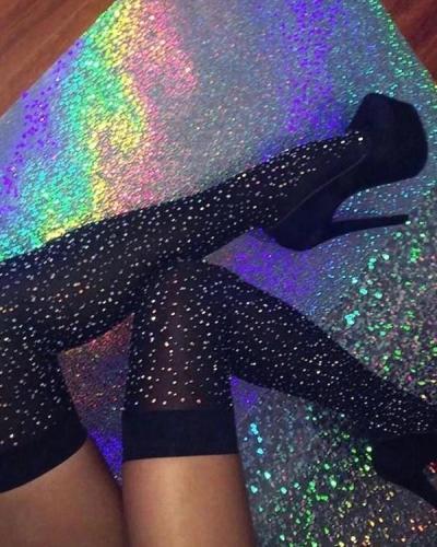 Glittering Rainbow Rhinestone Striped Over Knee-Socks