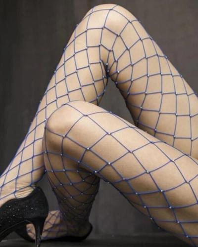 Glittering Rhinestone Fishnet Hollow Stockings
