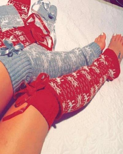 Christmas Knitted Over Knee High Thigh Socks