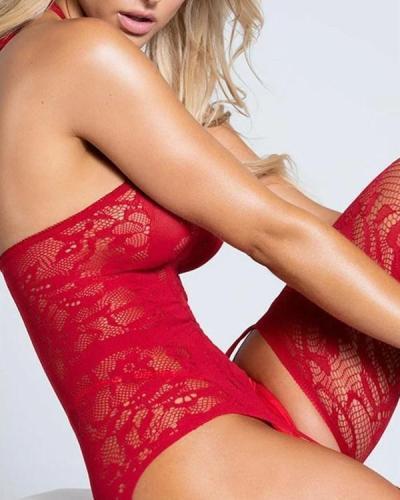 Lace Halter Garter Body Stocking