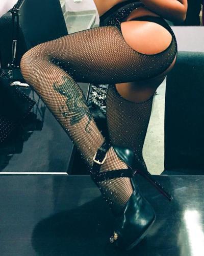 Crystal Fishnet Stockings Tights Rhinestone Pantyhose Sex Lingerie