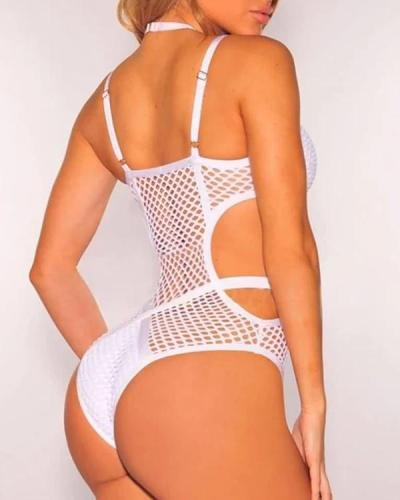 Bandage Sheer Fishnet Bodysuit