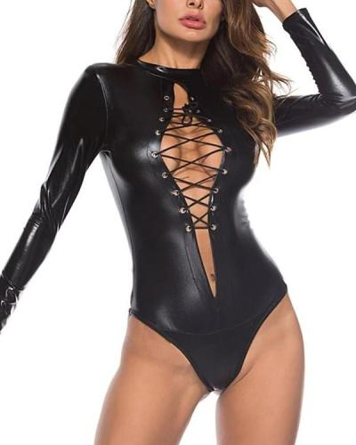 Sexy Black Gothic Long Sleeve Bodysuit