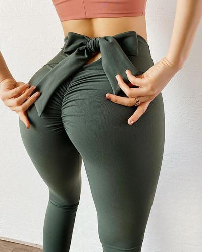 Ruched Bow Tie Back Sports Leggings