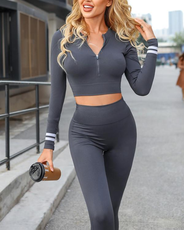 Tight-fitting Stretch Solid Color Sports Fitness Set