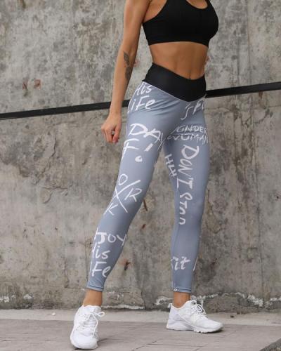 Print Letter Fitness Legging Yoga Pants