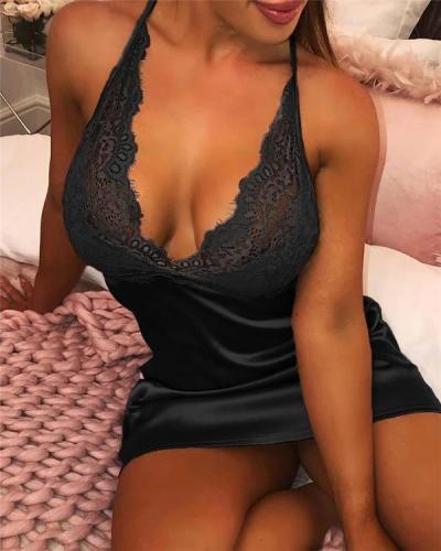 Eyelash Lace Halter Satin Nightgown