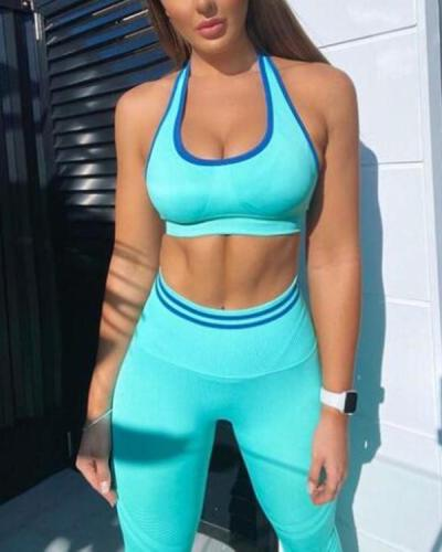 Seamless Yoga Set Two Pcs Crop Top Bra Leggings