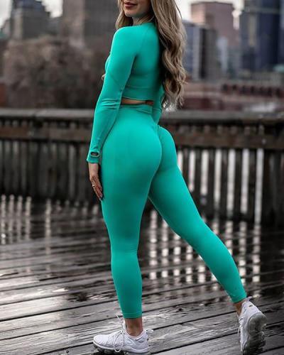 Women Fitness 2 Piece Leggings and Top Sportswear