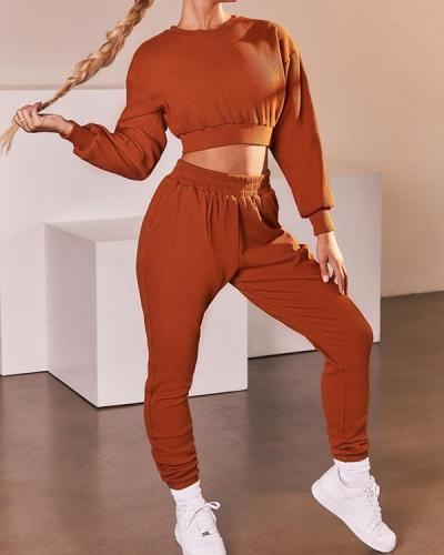 Casual Sweatshirts Sportswear Top & Pant Suit