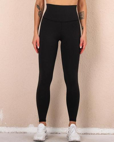 High Waist Pure Color Hip Up Leggings