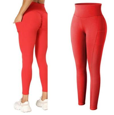 Women High Waist Leggings With Pocket Ruched Butt Lifting Leggings