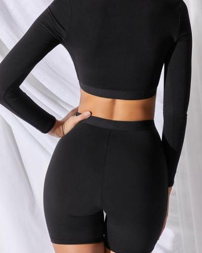 Fashion Black Slim Fitness Sports Suit