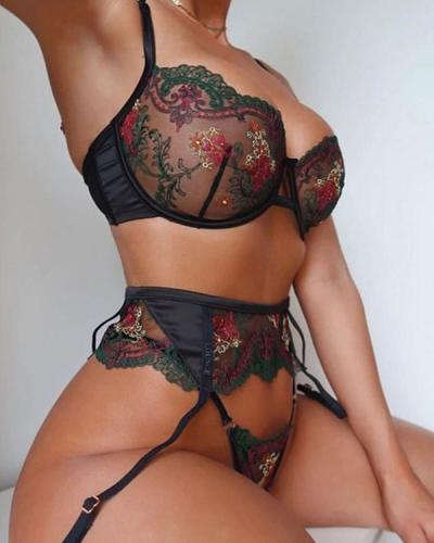 Floral Embroidery Crochet Lace Lingerie Set