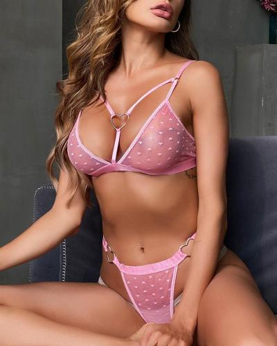 Sweet Pink Love Lace Lingerie Set