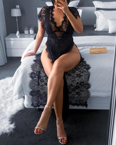 Eyelash Lace Sheer Mesh High Slit Nightgown