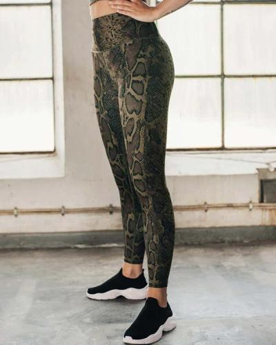 Women's Snake Skin Trousers Yoga Wear Fitness Suit