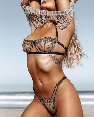 Sheer Mesh Spaghetti Strap Butterfly Lace Lingerie Set