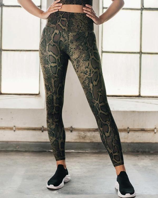 Women's Snake Skin Trousers Yoga Wear Fitness Suit