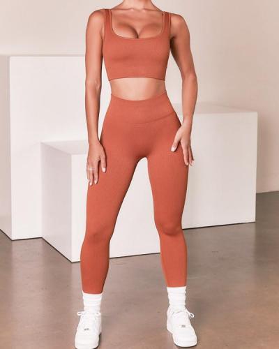 Women's Sports Vest Trousers Yoga Wear Fitness Suit