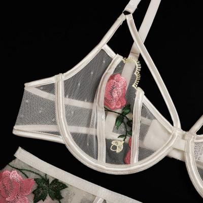 Flower Rose Embroidered lingerie Set