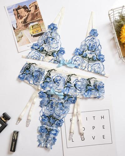 Blue Flower Embroidered lingerie Set