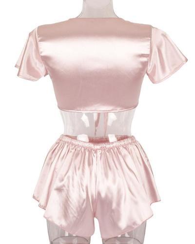 Sexy V-neck Pink Silk Pajamas