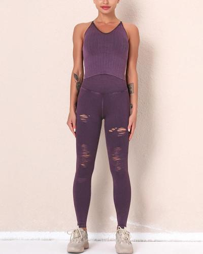 2021 New Fitness Legging Yoga Pants & Vest Suit