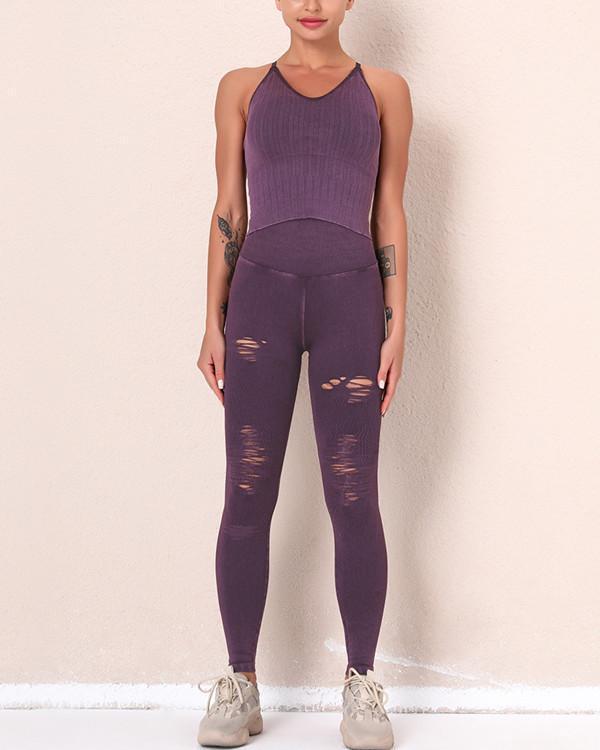 2021 New Fitness Legging Yoga Pants & Vest Suit