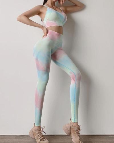 Tie-dye Sexy Casual Low-Impact Sports Bra Leggings Set