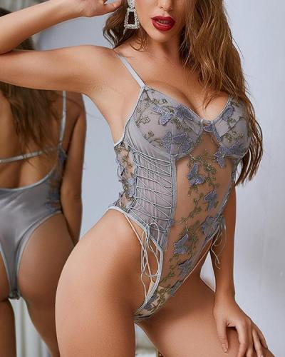 Butterfly Embroidered Lingerie Bodysuit Tie Up Lingerie