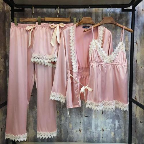 4 Pieces Set Silk Satin Lace Elegant Silk Pajama