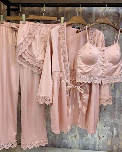 Elegant 4 Pieces Set Silk Satin Lace Silk Pajama