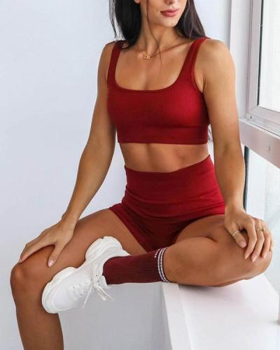 2021 New Seamless Knitted Yoga Suit