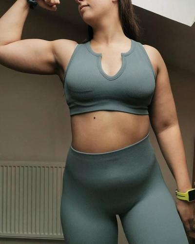 2021 New U Neck Seamless Knitted Yoga Suit