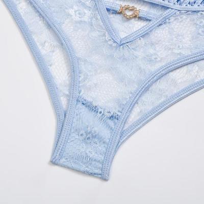 Blue Elegant Lace Lingerie Set