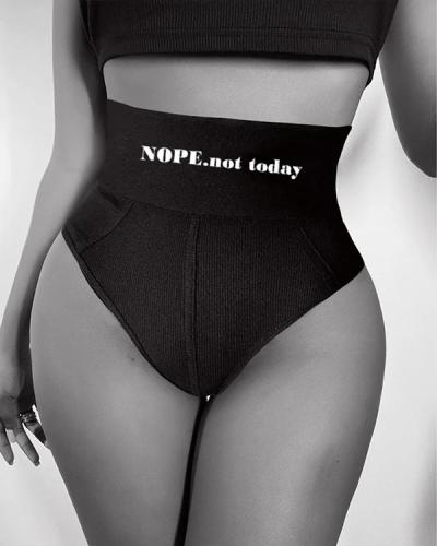 Elastic Slogan High Waist Ribbed Sporty Panty Underpants