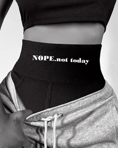 Elastic Slogan High Waist Ribbed Sporty Panty Underpants