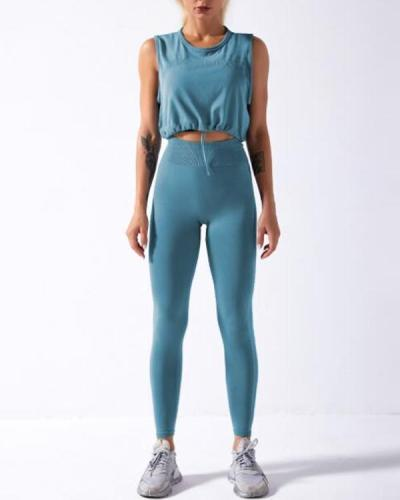 Seamless Gym Yoga Top+Leggings Suit