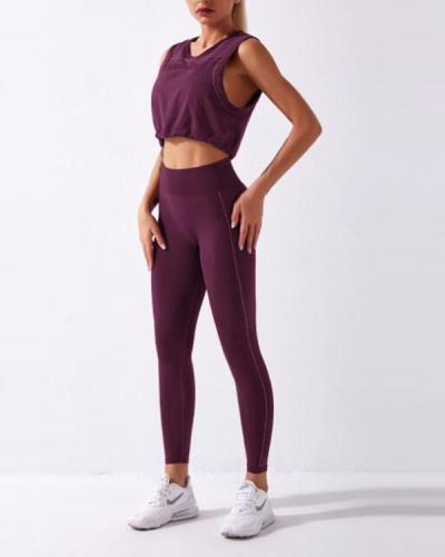 Seamless Gym Yoga Top+Leggings Suit