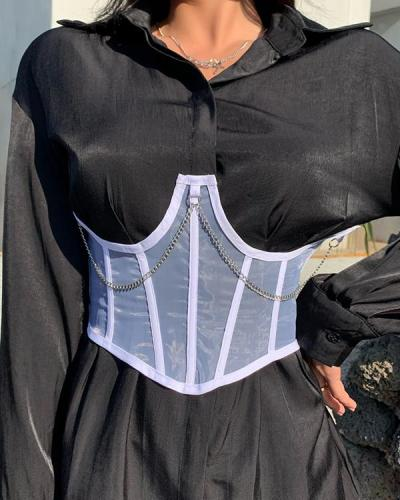 Sexy Mesh Lace Up Chain Corset