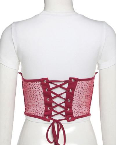 Fashion Lace-up Red Corset Party Outfits Clubwear