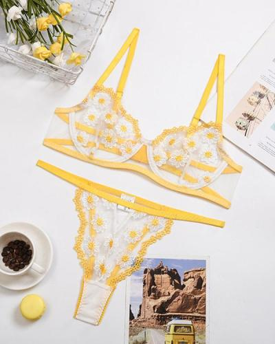 Yellow Daisy Embroidered Mesh Lingerie Set
