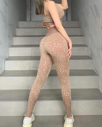 Leopard Comfortable Seamless Yoga Set